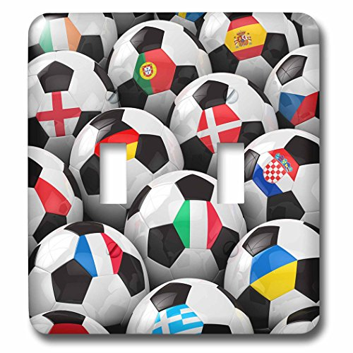 3dRose lsp_155022_2 England Germany Portugal Spain, Dm, Czech Republic Italy France Greece Ukraine Flags on Soccer Balls Light Switch Cover by 3dRose