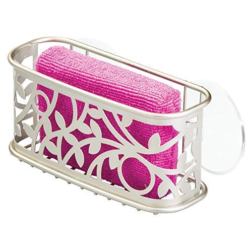 - InterDesign Vine Metal Kitchen Sink Suction Holder for Sponges, Scrubbers, Soap, Scouring Pads, Bathroom Shower Organizer, 7.25
