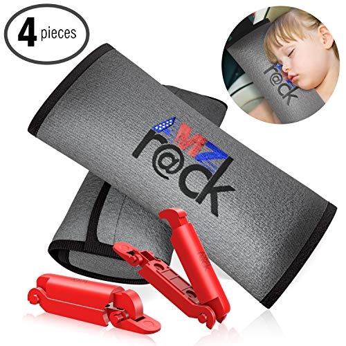 Seatbelt Pillow 2 Piece Soft Plush Car Seat Belt Cover + 2 Red Seatbelt Clips Set Safety Belt Protector Pad for Kids Washable Seatbelt covers Headrest for Shoulder and Neck Support Top Gifting Idea
