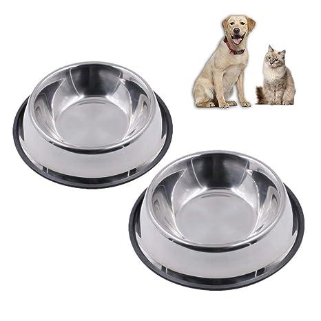 Kuiji - 2 Cuencos Antideslizantes para Comida y Agua para Perro y Gato de Acero Inoxidable