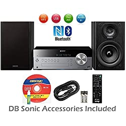Sony Micro Home Audio System with Wireless NFC Bluetooth, MP3 CD Player, AM/FM Radio, 30 Presets, Play & Sleep Timer, Bass Boost, AUX Input & Wireless Remote Control + DB Sonic Accessories