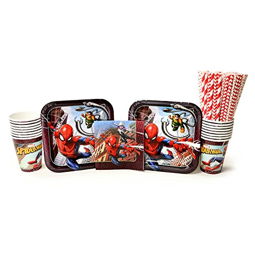 Spiderman Party Supplies Pack for 16 Guests: Straws, Dessert Plates, Beverage Napkins, and Cups (Bundle for 16)