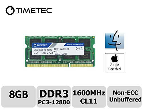 Timetec Hynix IC Apple 8GB DDR3 1600MHz PC3-12800 SODIMM Memory upgrade For MacBook Pro 13-inch Early 2011,iMac 21.5-inch Mid 2011, Mac Mini Mid 2011 Server and more (8GB) (Mac Mini With Os X Server)