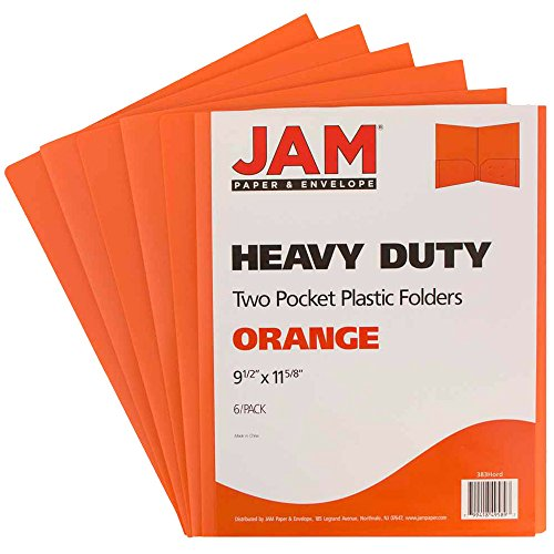 (JAM PAPER Heavy Duty Plastic 2 Pocket School Folders - Orange -)