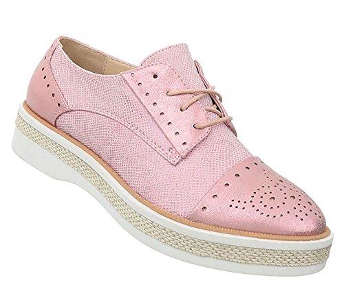 Damen Schuhe Halbschuhe Schnürer Rosa