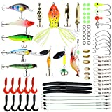 happyday04 Fishing Lures Baits Tackle with Crankbaits, Spinnerbaits, Plastic Worms, Jigs, Topwater Lures, Tackle Box and More Fishing Gear Lures Kit Set, 75Pcs Fishing Lure