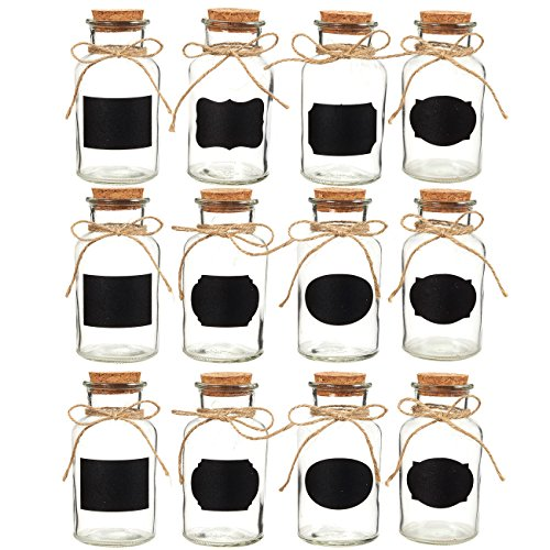 Juvale Small Glass Bottles - Set of 12 Glass Bottles with Cork Stoppers, Small Glass Decorative Bottles Ideal for DIY Crafts, Home, Party Favors, 8.5 Ounces -