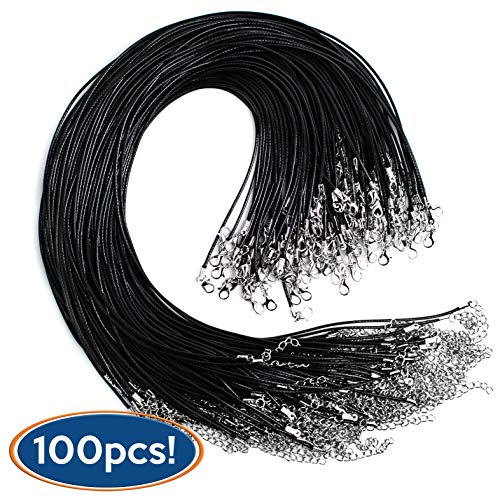 Bastex 100 pieces of Waxed Necklace Cord with Clasp. Perfect for Bracelet, Necklace and DIY Jewelry Making. 20 Inches long, 1.5mm Thickness. Single Color Black Bulk ()