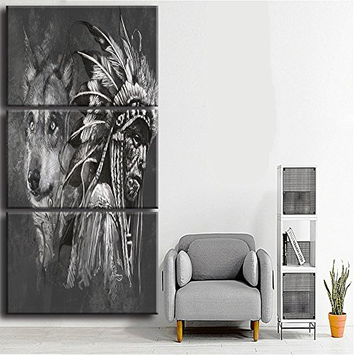 Canvas Print Wall Pictures for Living Room Posters and Prints Modern Home Decor Painting Native American Indian with Wolf Artworks Black and White 3 Piece Framed Ready to Hang /3pcs