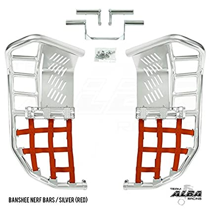 Propeg Nerf Bars Silver with Red Net 1987-2006 More Net Color Choices Available Yamaha Banshee YFZ 350