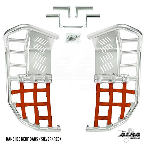 Yamaha Banshee YFZ 350 (1987-2006) Propeg Nerf Bars Silver with Red Net (More Net Color Choices Available) by Alba Racing (Image #2)