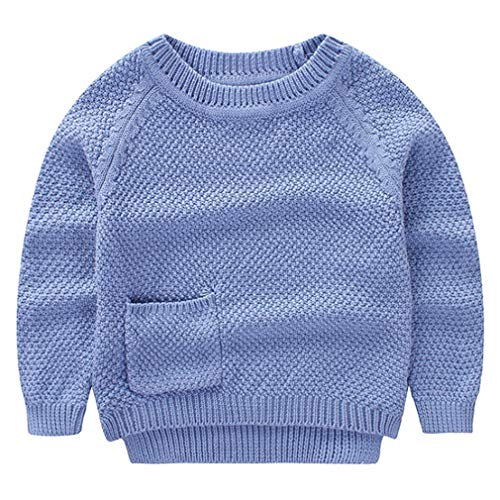 Deazhsyh Toddler Boys Sweater with Pocket O-Neck Clothing