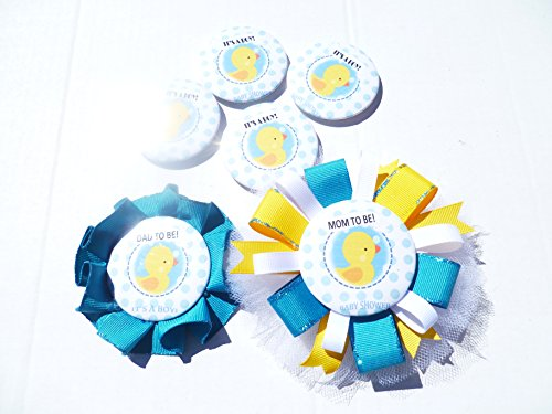 It's a Boy Duck Theme Baby Shower Party Buttons Pins -