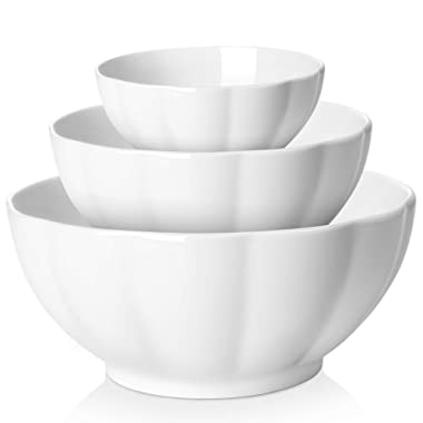 DOWAN Porcelain Serving Bowl, Mixing Bowl Set, Anti Slipping Nesting Bowls, 3 Piece (4.7 Inches, 6 Inches, 8 Inches) White