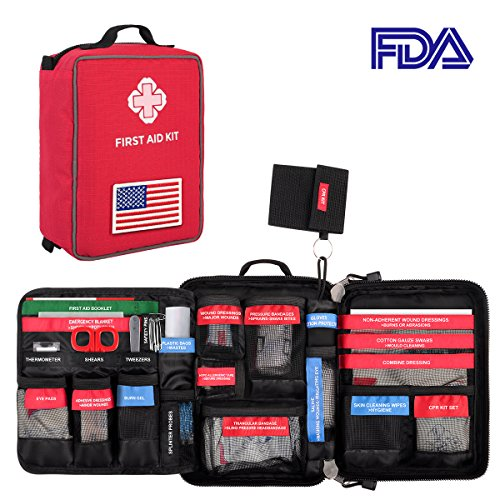 First Aid Medical Kit, Waterproof Molle First Aid Bag w/ Reflective Strip and American Flag Badge, 96-Piece Kit for Emergency at Home, Outdoors, Survival, etc.