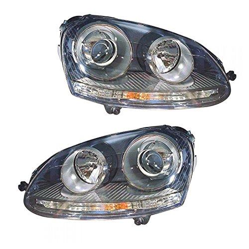 (HID Headlight Headlamp Light Lamp Pair Set LH & RH for VW Volkswagen Golf Rabbit)
