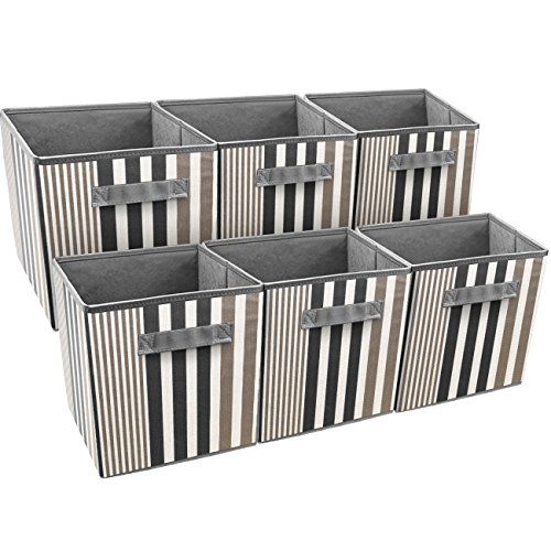 (Sorbus Foldable Storage Cube Basket Bin, Vertical Stripe Line Pattern (6 Pack, Black))
