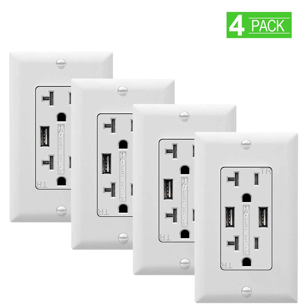 SZICT USB Wall Outlet 4 Pack, UL-listed 4.2A Tamper Resistant Duplex Receptacle 20A Dual USB Receptacle Charger, 2 USB Ports Wall Receptacle Outlet with White Wall Plate