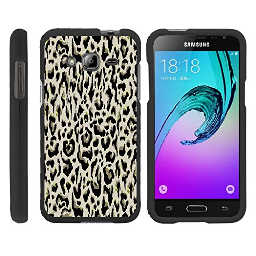 Samsung Galaxy J3 Case | Amp Prime | Express Prime | Galaxy Sol [Slim Duo] Ultra Slim Hard 2 Piece Cover Protector Cool Design on Black by TurtleArmor - Fainted Leopard Print
