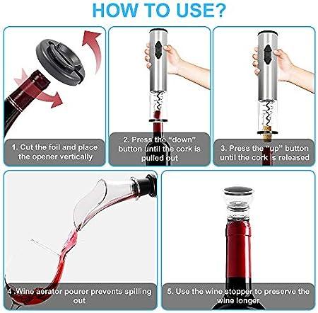 CestMall Juego de abridor de Vino eléctrico 4 en 1, sacacorchos automático, abrebotellas de Vino, Funciona con Pilas, inalámbrico, con Cortador de Papel de Aluminio, tapón de vacío para vertedor