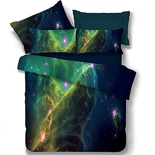 Wholesale Ammybeddings 4 Piece Blue Space Duvet Cover with 1 Sheet and 2 Pillow Shams,3D Galaxy Bedding Sets,Twin/Full/Queen/King,Soft Stylish Bedroom Decor Duvet Cover Set (Extra Long Twin, Green) for sale