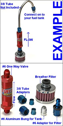 An #6 One Way Check Valve Roll Over Air Vent Kit With #6 Weld On Bung For Fuel Tank