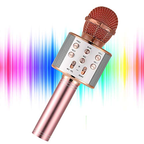 YOHIA Portable Handheld Karaoke Microphone for Kids, Hot Toy Gifts for Girls Teens, Wireless Bluetooth Mic for Android…