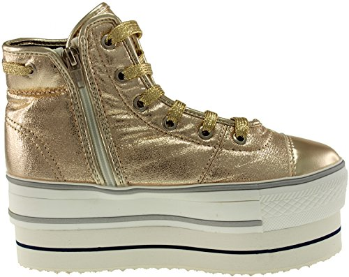 High Shoes Platform Double Gold Sneakers Top Synthetic Round Lace Maxstar Leather q7Rnz6EHxw