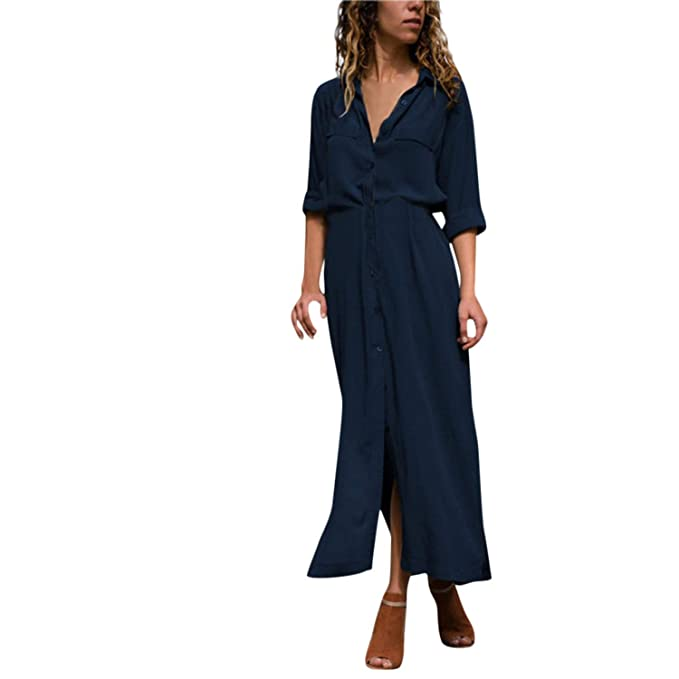 9e6d86a0fcc2b Lovii Summer Dress Female 2019 Women s Solid Long Sleeve Casual ...
