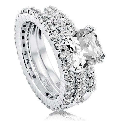 BERRICLE Sterling Silver Cushion Cut Cubic Zirconia CZ Solitaire Womens Stackable Ring Set