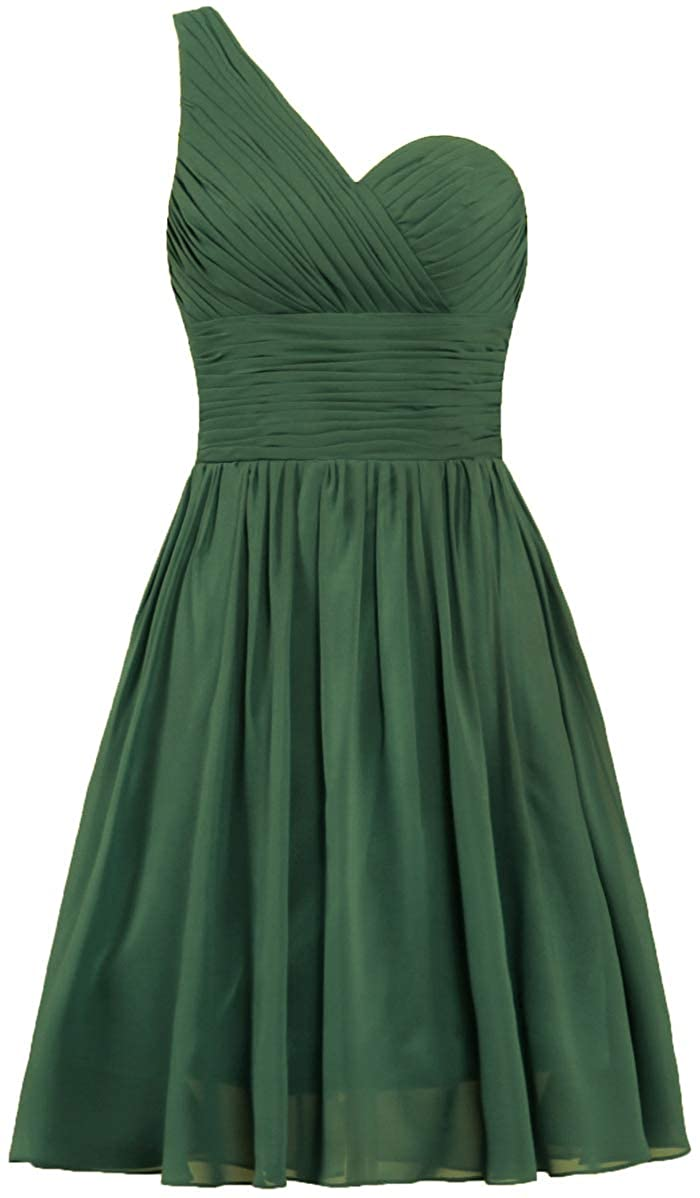 ANTS Vintage Chiffon Short Bridesmaid Dresses One Shoulder Cocktail Dress T907-MFN