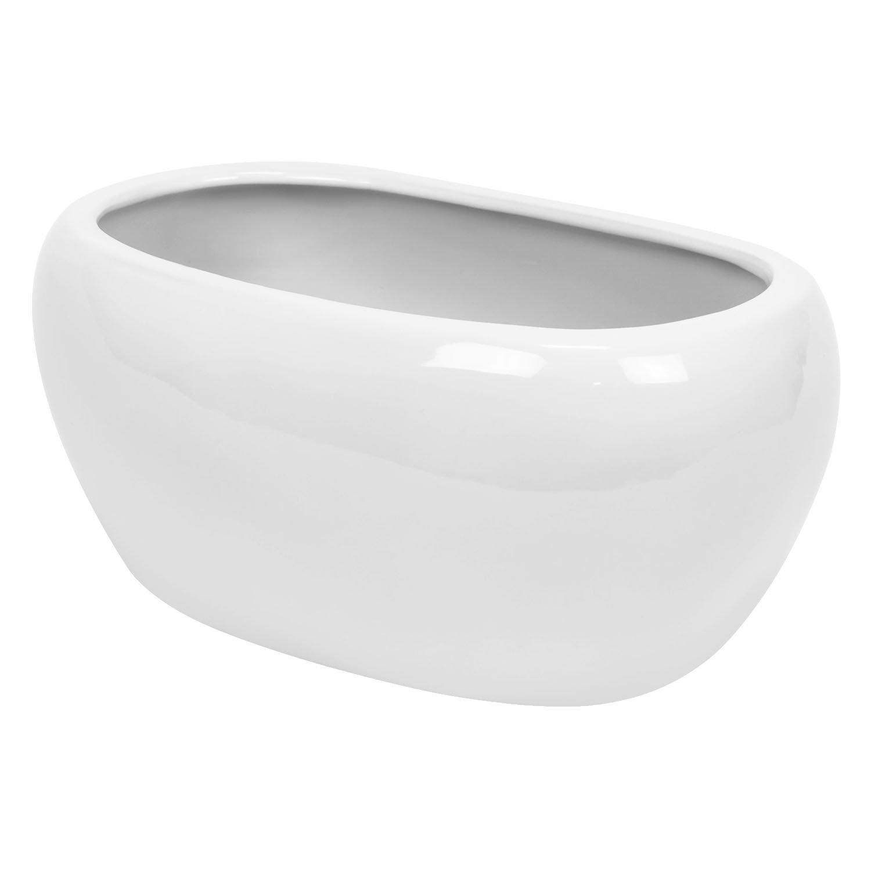 Cache pot ovale ceramique Piano long 27 cm, en blanc Polnix