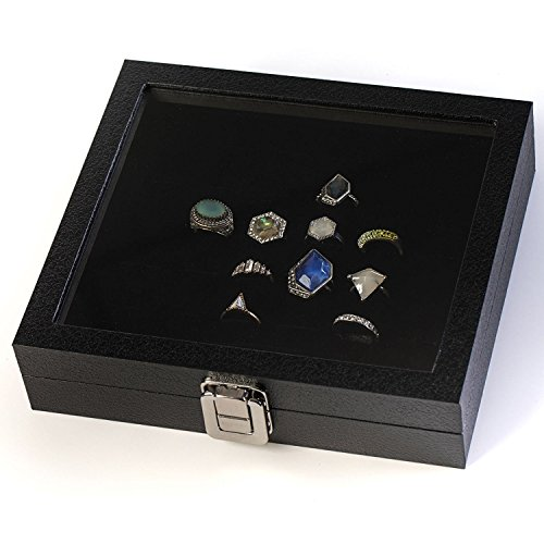 (Huji Glass Top Ring Display Showcase With Velvet Insert Liner Jewelry Organizer (1, 36 Slot Case))