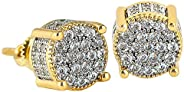 KRKC&CO Stud Earrings for Men, 14K Gold Iced Out Micro Pave 5A CZ Stones Earrings, Hypoallergenic 925 Ster