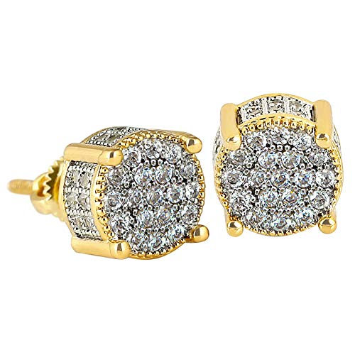 KRKC&CO 14K Gold Iced Out Stud Earrings, Round Micro Pave 5A CZ Stones Earrings, 925 Sterling Silver Prong Earrings, Hip Hop Streetwear Rapper Stud Earring for Women & Men Dating Party (White Gold) ()