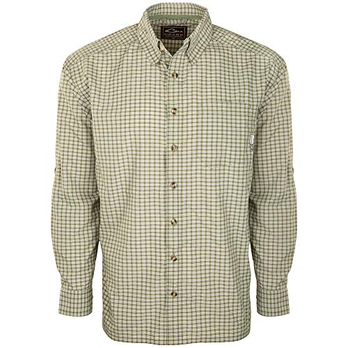 Drake Men's Featherlite Check Long Sleeve Shirt, Rifle Green, ()