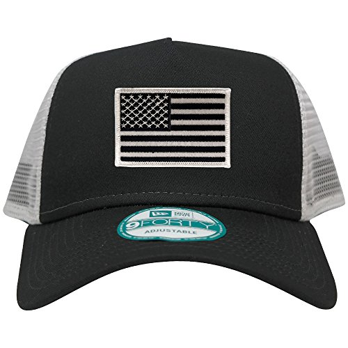 New Era 9FORTY 5 Panel USA Flag Patch Snapback Trucker Cap - BLACK - BLACK - Usa New