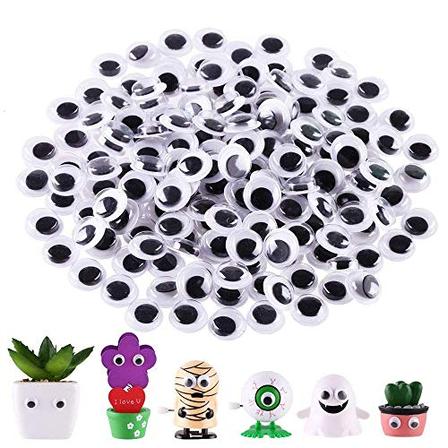 DIYASY 180 Pcs 10mm Googly Wiggle Eyes Self Adhesive Assorted Bulk Stickers for Cratfs (10mm Google Eyes)