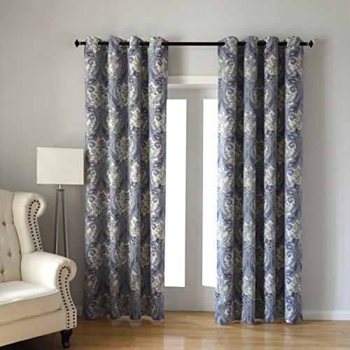 ndow Curtain for Paisley Floral Print Blackout Curtains, 2 Panels Floral Design Print Ring Top Thermal Insulated Blackout Curtains Perfect for Living Room, W52 x L84 Inches, Blue (Panel Floral Print)