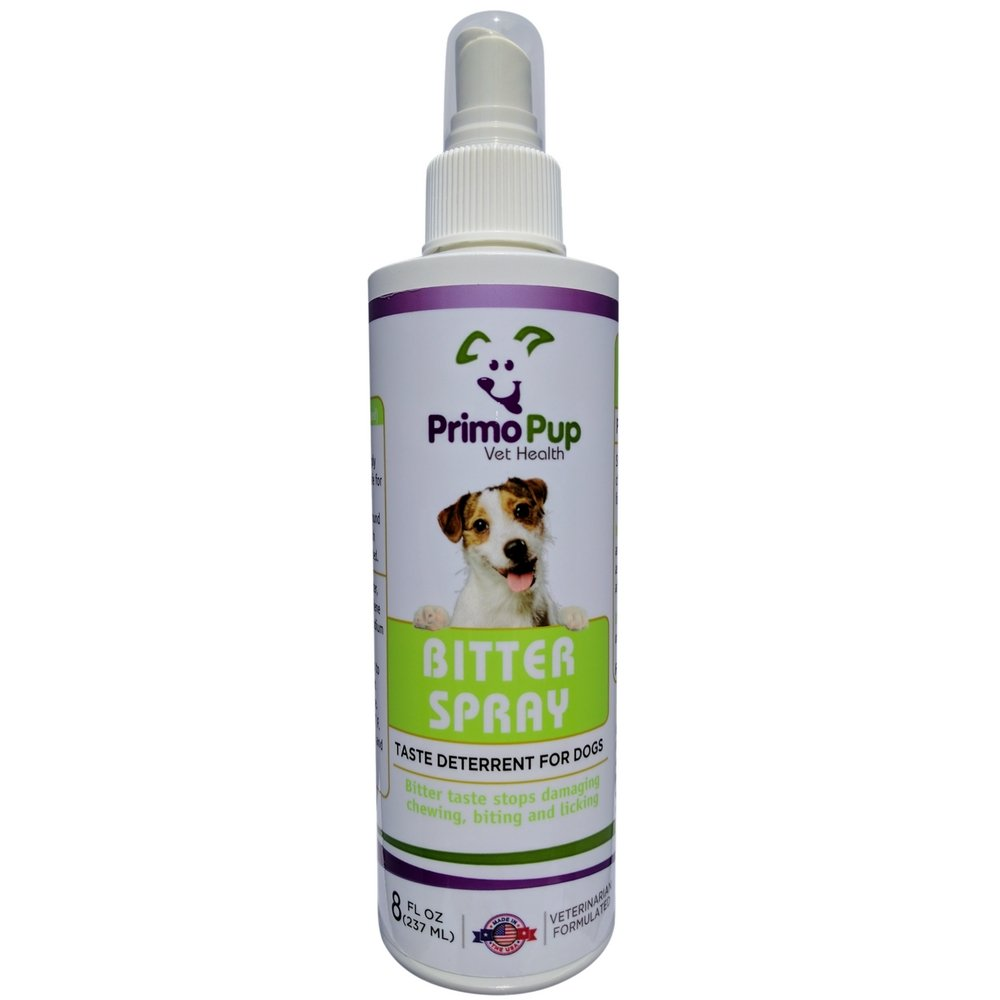 Primo Pup Bitter Spray Taste Deterrent for Dogs Vet Health | Stops Damaging Chewing, Biting and Licking | 8 fl oz by Primo Pup