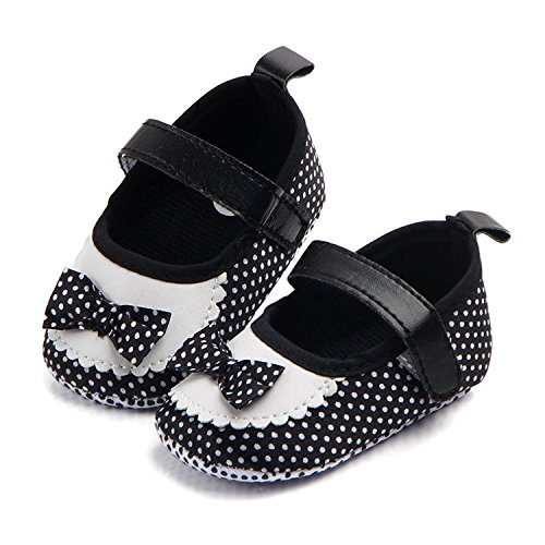 M2cbridge Baby Girl's Bow Dress Shoe Infant Toddler Pre-walker Crib Shoe (0-6 Months, Polka Dot) - Image 2