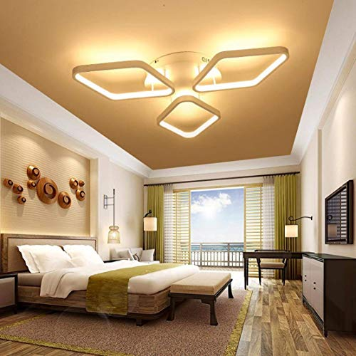 BOSSLV Ceiling Light Modern Design Creative Metal Acrylic Diamond-Shaped Romantic and Warm Indoor Decorative Lighting Fixture for Parlor Bedchamber Kitchen Remote Control Promise Dimming Dimmable