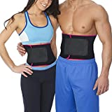 XRUSH Waist Trimmer,Exercise Trainer Adjustable Weight Loss Belt Stomach Fat Burner with Low Back and Lumbar Support with Sauna Suit Effect for Workout Weight lifting Yoga (Rose Red, Large - 45''x9'')