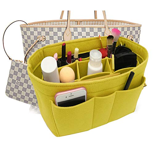 Felt Insert Fabric Purse Organizer Bag, Bag Insert In Bag with Zipper Inner Pocket Fits Neverfull Speedy 8010 Yellow M -