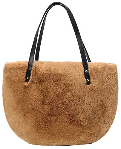 Obosoyo Womens Faux Fur Totes Fluffy Purse Fuzzy Bag Fashion Winter Bag Large Designer Semicircle Shoulder Bag