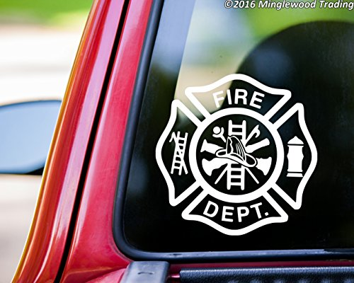 "Minglewood Trading Fire Department vinyl decal sticker 5"" x 5"" FD Firefighter Maltese Cross WHITE"