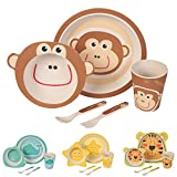 BIOZOYG Children crockery set made out of bamboo 5 pieces I Table Service for children monkey with cutlery cereal Bowl drinking cup and children's Plates I Recyclable Natural Material BPA free
