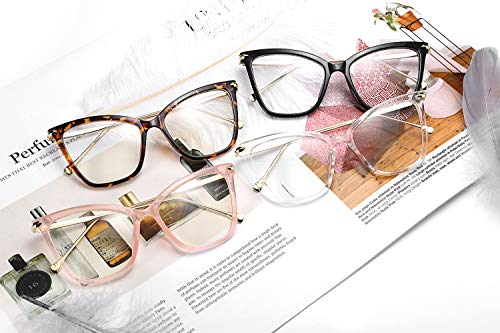 45f8d98a8c77 FEISEDY New Oversized Cat Eye Glasses Frame Non prescription Eyewear for  Women B2460