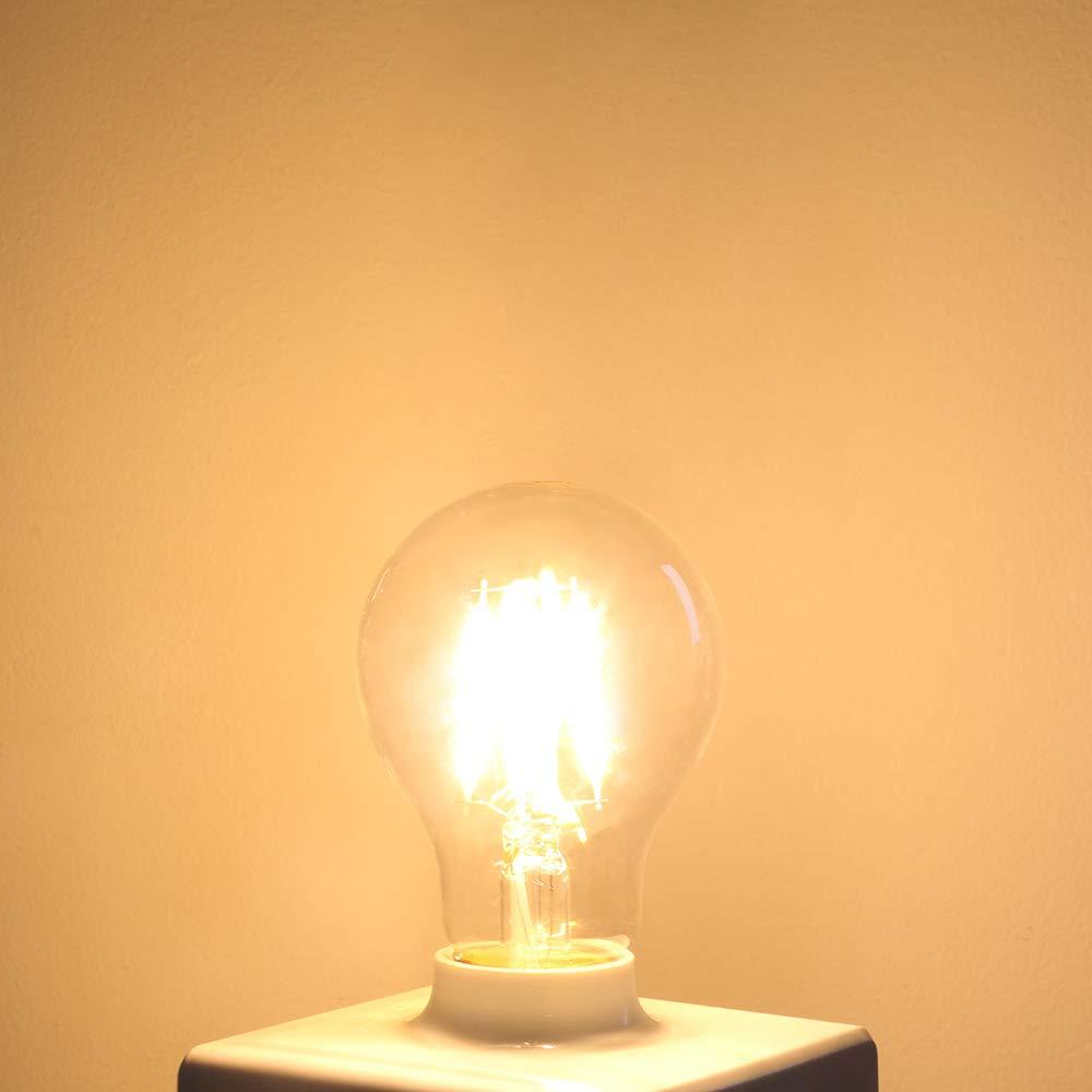 GMY Lighting Lampadina filamento LED E27 Dimmerabile A60 4.5W Equivalente 40W 470lm Bianco caldo 2700K Corpo in vetro pieno 360/° Angolo a fascio 6 Pezzi