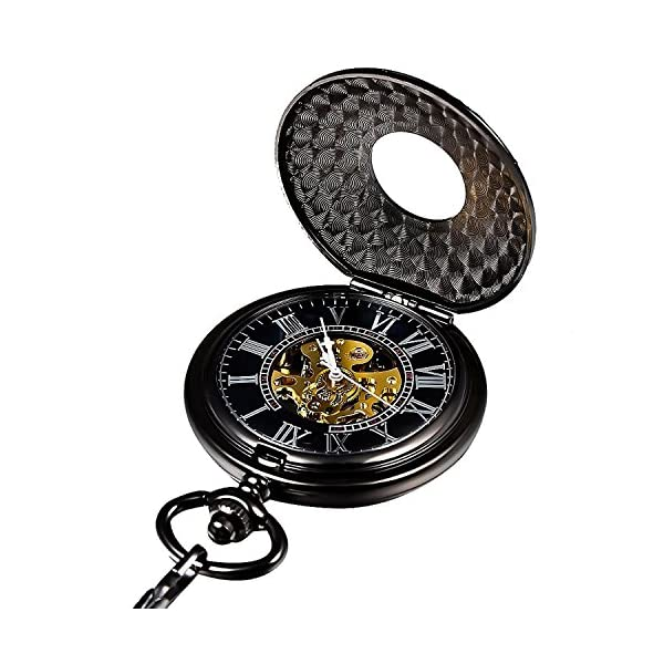Carrie Hughes Men's Vintage Blue Roman Letters Steampunk Skeleton Mechanical Pocket Watch with Chain CHPW1 5
